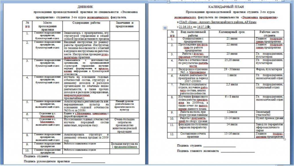 Образец оформления дневника и календарного плана